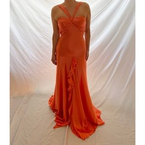 Jovani Silk Gown Papaya